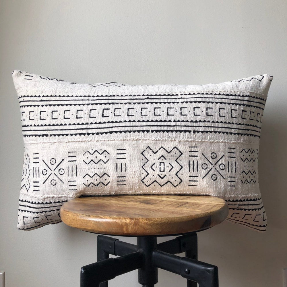 Double Sided With Insert White With Black Arrow Tribal Mud Cloth African Mud Cloth Indigo Pillow Covers