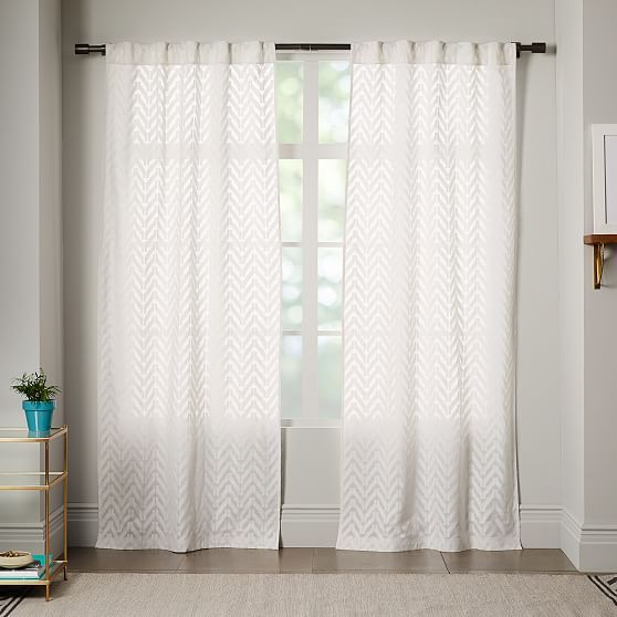 Sheer Chevron Curtain White 42 With Images Chevron Curtains