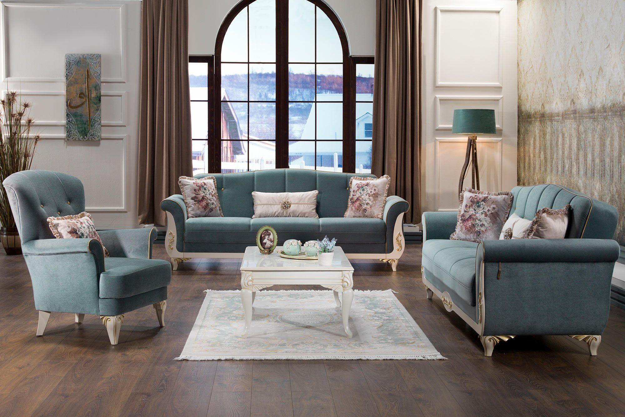 Astoria Caprice Seafoam Green Sofa, Love & Chair Set by ...