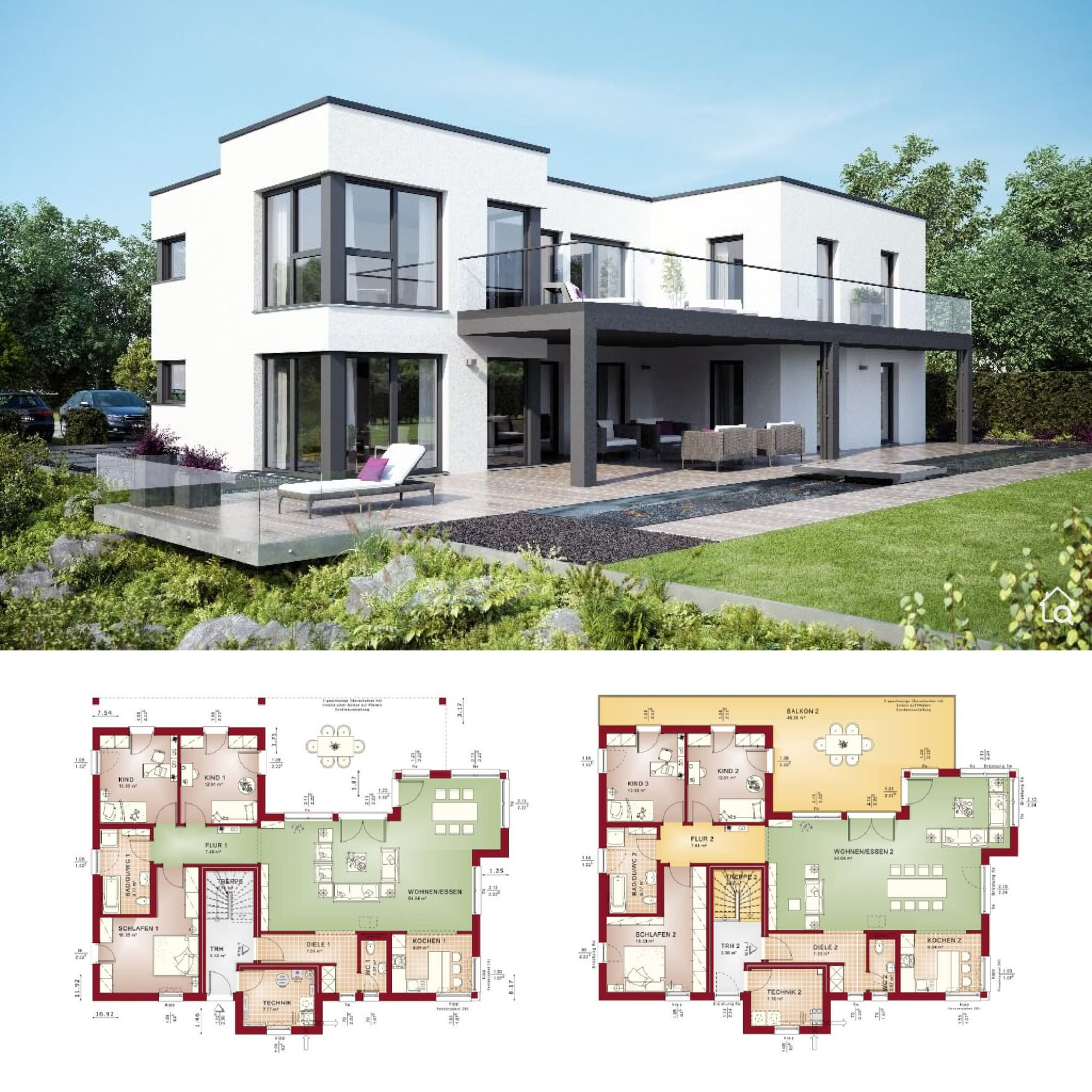 Two Family House Plans With 2 Story Flat Roof Modern Contemporary European Architecture Design In 2020 Zweifamilienhaus Haus Bauhausstil