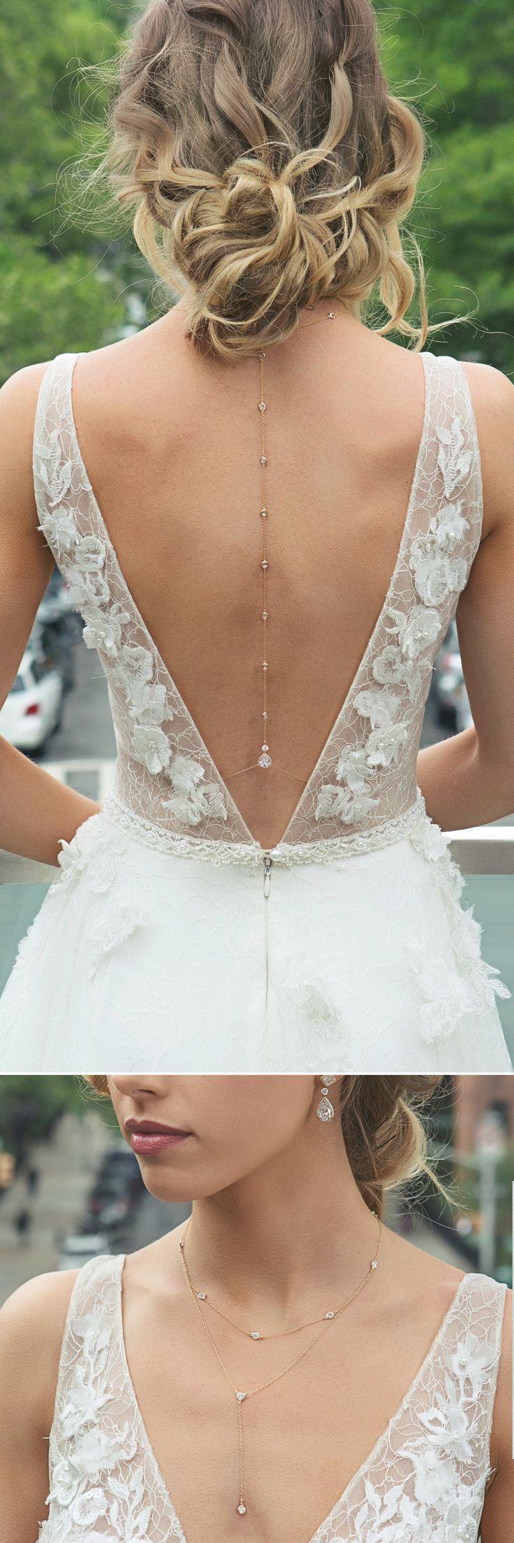 Wedding dress jewelry  Margaux Petite Back Pendant Necklace  yas  Pinterest  Wedding