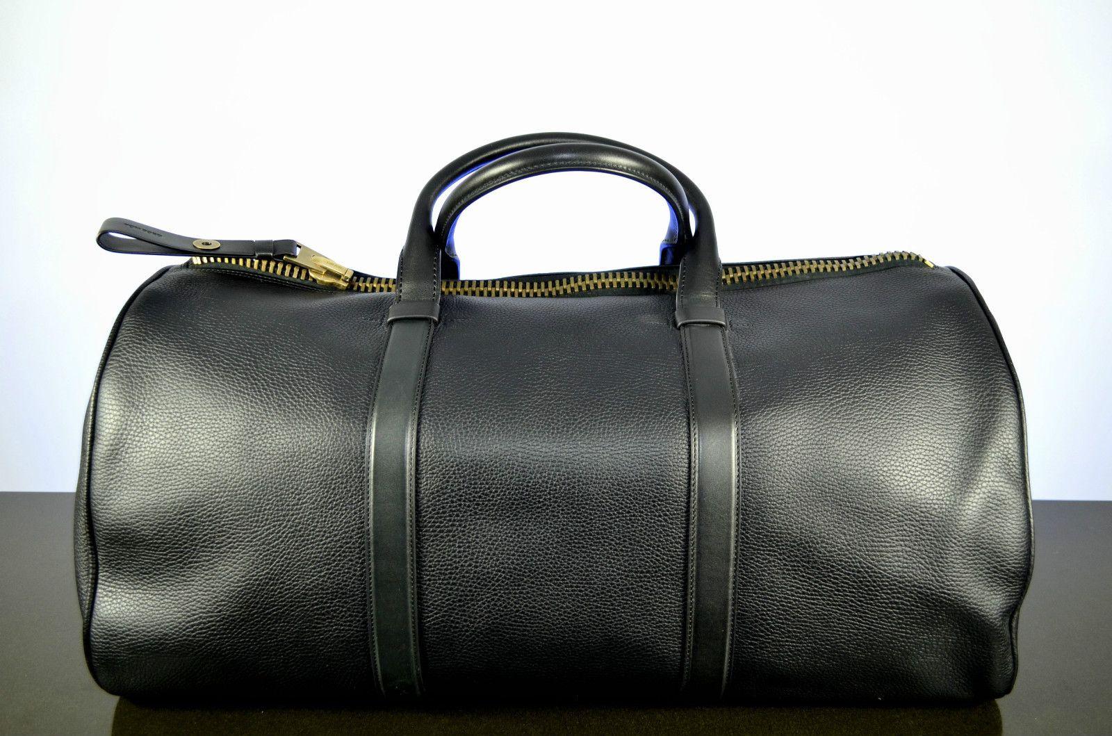 US Men/'s Black Leather Duffle Gym Handbag Travel Luggage Bag School Satchel Bag