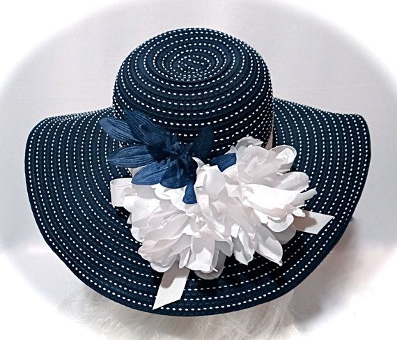 Navy Kentucky Derby Hat Womens Sun Hat Accessories Dh 134 Etsy Derby Hats Kentucky Derby Hat Sun Hats For Women