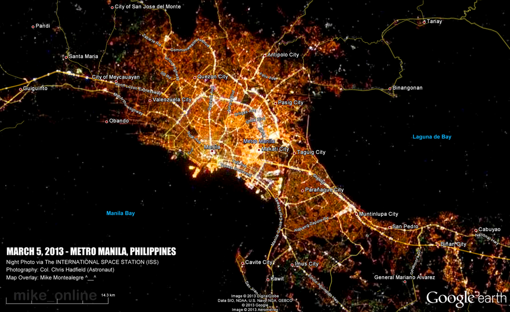 Mike montealegre on manila philippines iss night photo by cmdrhadfield of manila philippines google earth gumiabroncs Gallery