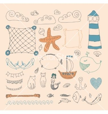 Cute sea objects collection vector. Nautical doodles by mamziolzi on VectorStock®