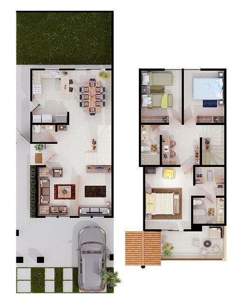 Pin de citlalli del en casas casas planos de casas for Planos de casas pequenas de una planta
