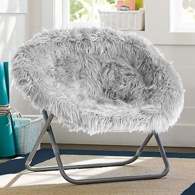 Gray Fur Rific Hang A Round Chair With Silver Base