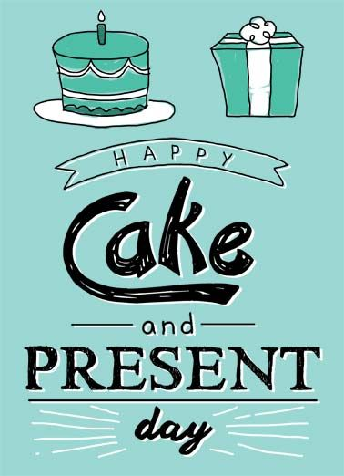 cake and present funny birthday card a drawing of a cake and a gift