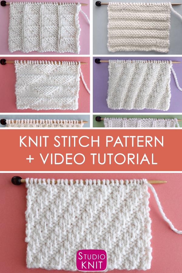 Diagonal Rib Knit Stitch (Knitting Pattern)
