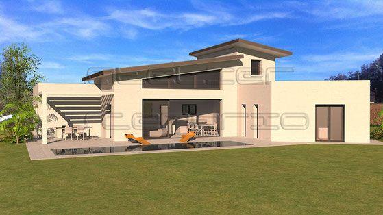 Maison contemporaine à toit zinc et séjour déplafonné avec mezzanine ...