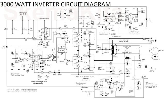 3000 Watt Inverter Circuit Diagram | Circuit diagram in 2019 ...  W Inverter Wiring Diagram on
