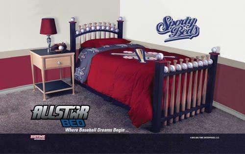 New Allstar Twin Baseball Bat Bed Kids Furniture By Sporty Beds Baseball Bedroom Bedroom Set Baseball Furniture