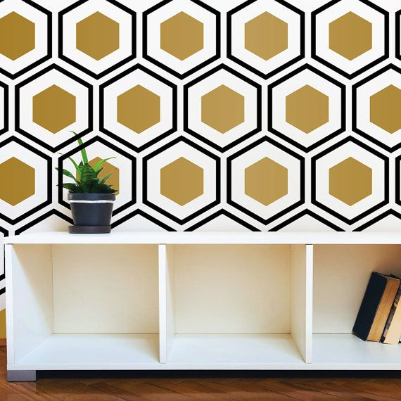 hexagon wall pattern decal modern geometric art deco design - wall