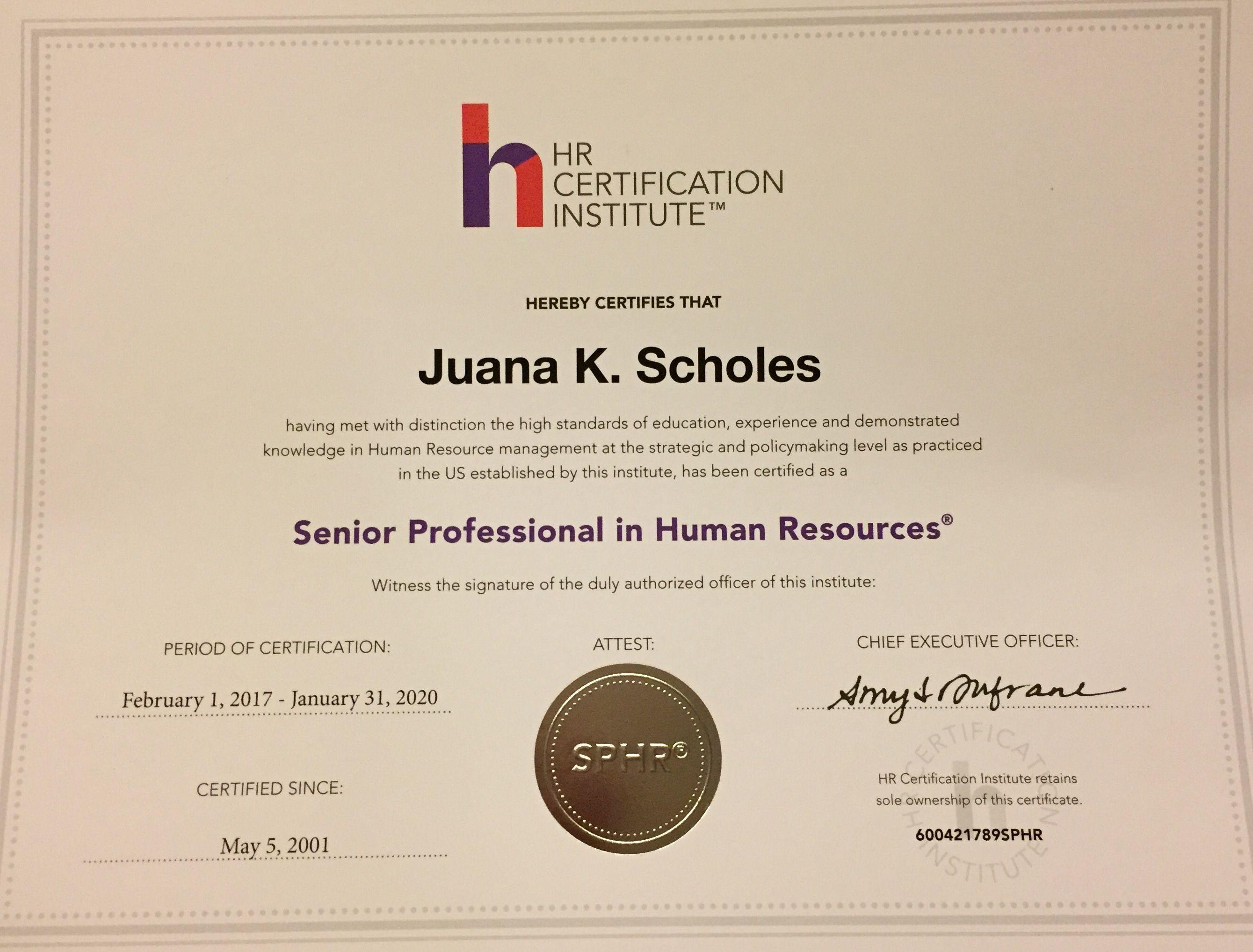 Hrci Sphr Certification Sphr Certification Pinterest
