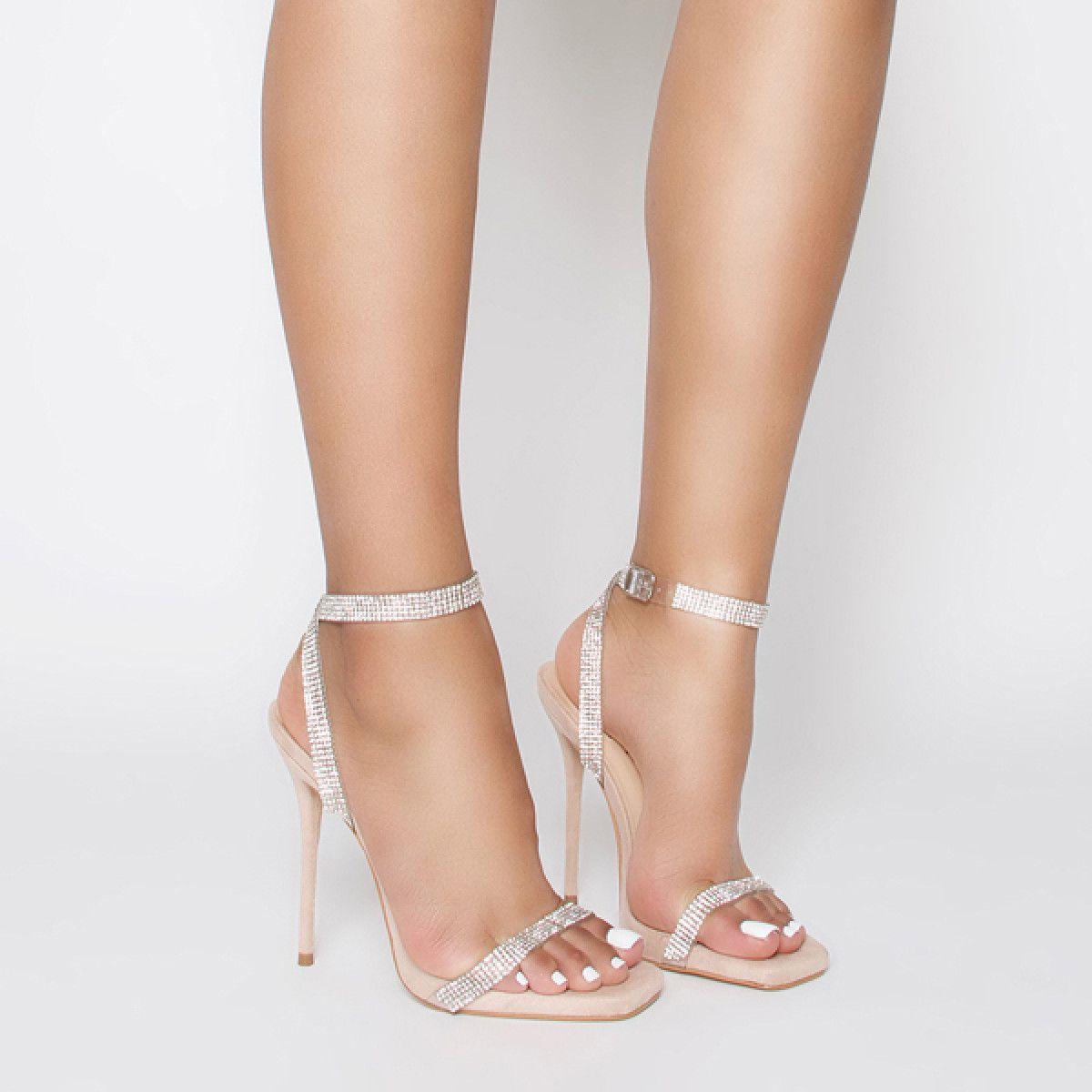 274b9ce91ec Laurel Nude Suede Clear Diamante Square Toe Heels   Simmi Shoes