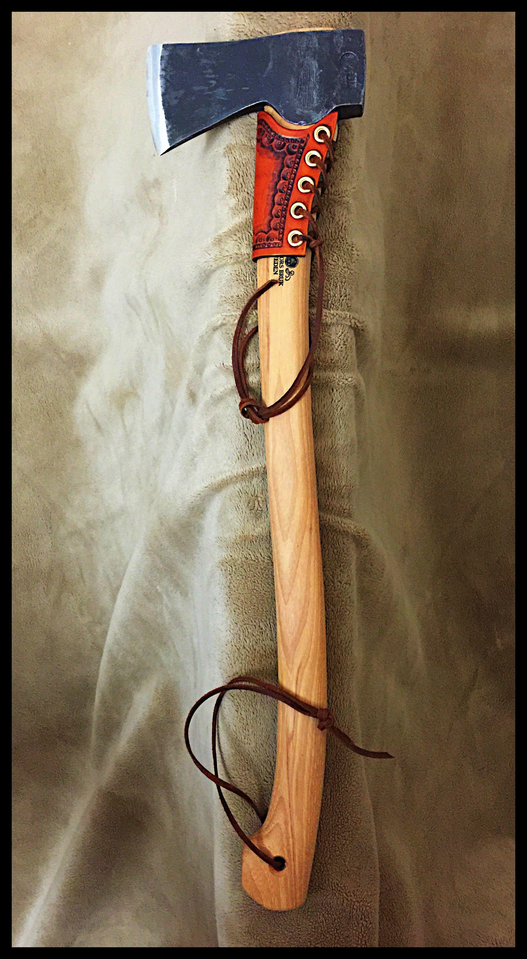 Gransfors Bruks Scandinavian Forest Axe 430 With Custom Leather Collar By John Black Gransfors Bruks Axe Scandinavian