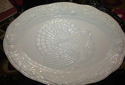 Bohemian Turkey Platter Pottery Large White Embossed Turkey Platter A Santos Portugal 8102 Pottery Art Pottery Turkey Platter