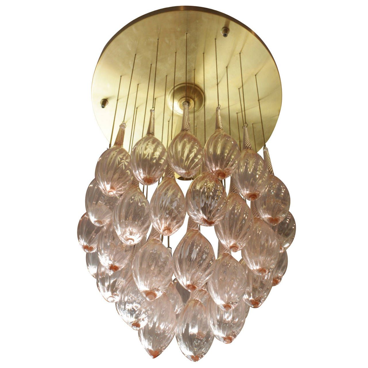 Italian Mid Century Modern Brass And Pink Murano Glass Teardrop Chandelier