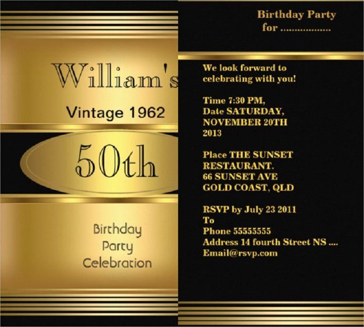 Gold Birthday Invitation Card Online Free Download