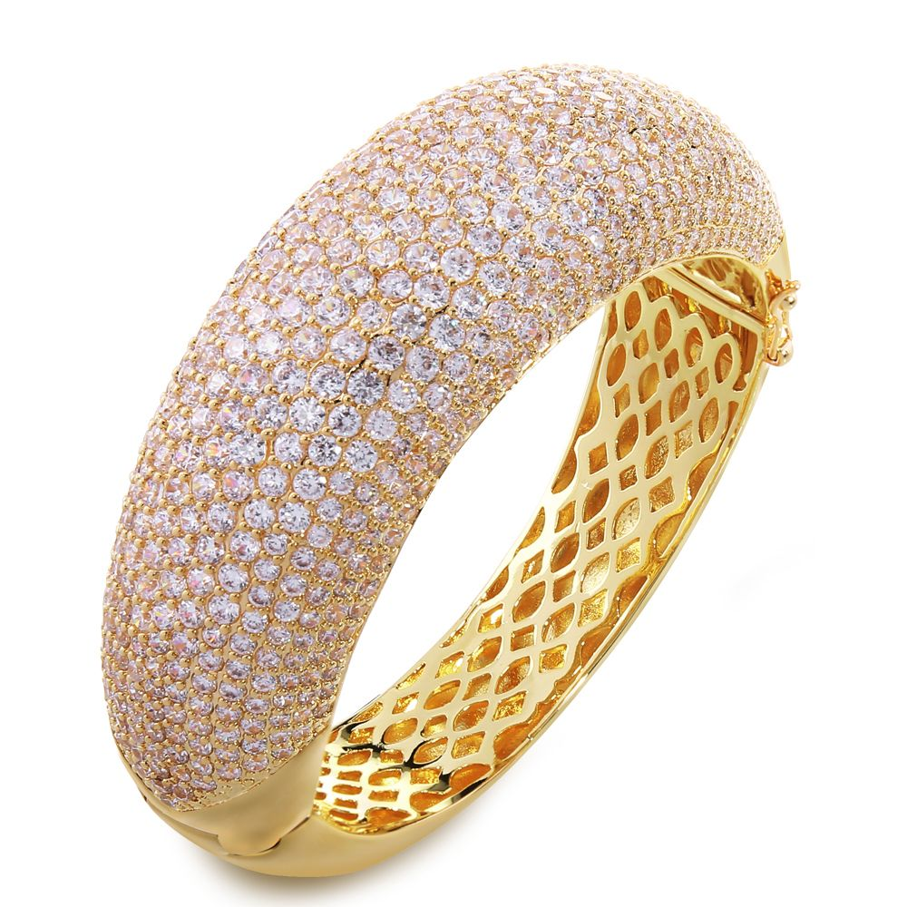 Big bangle Europe and America style gold plated with AAA white cz ...