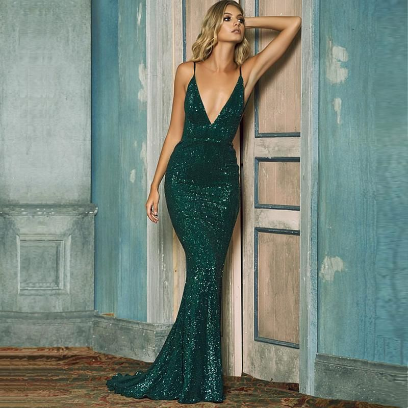 Emerald green backless sequined plunge gown ball dresses