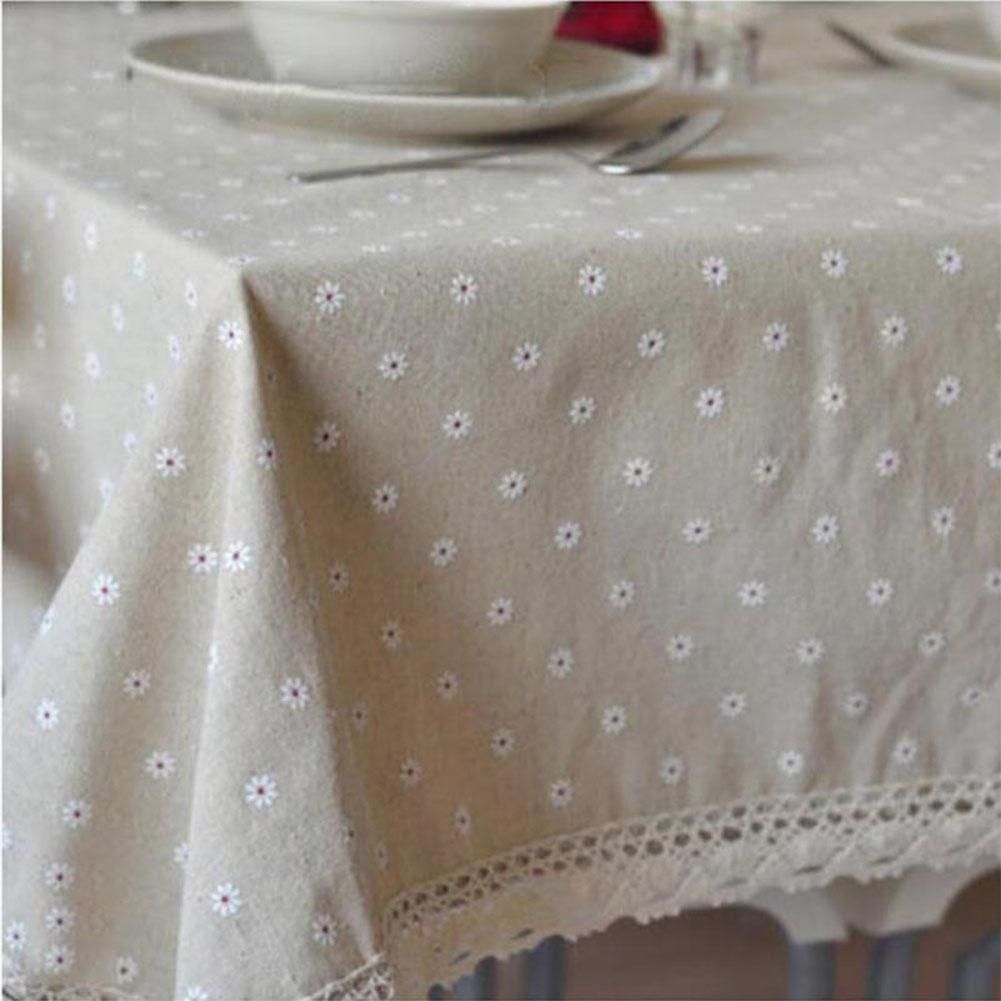 Tpfocus Pastoral Printing Tablecloth With Lace Cotton Linen