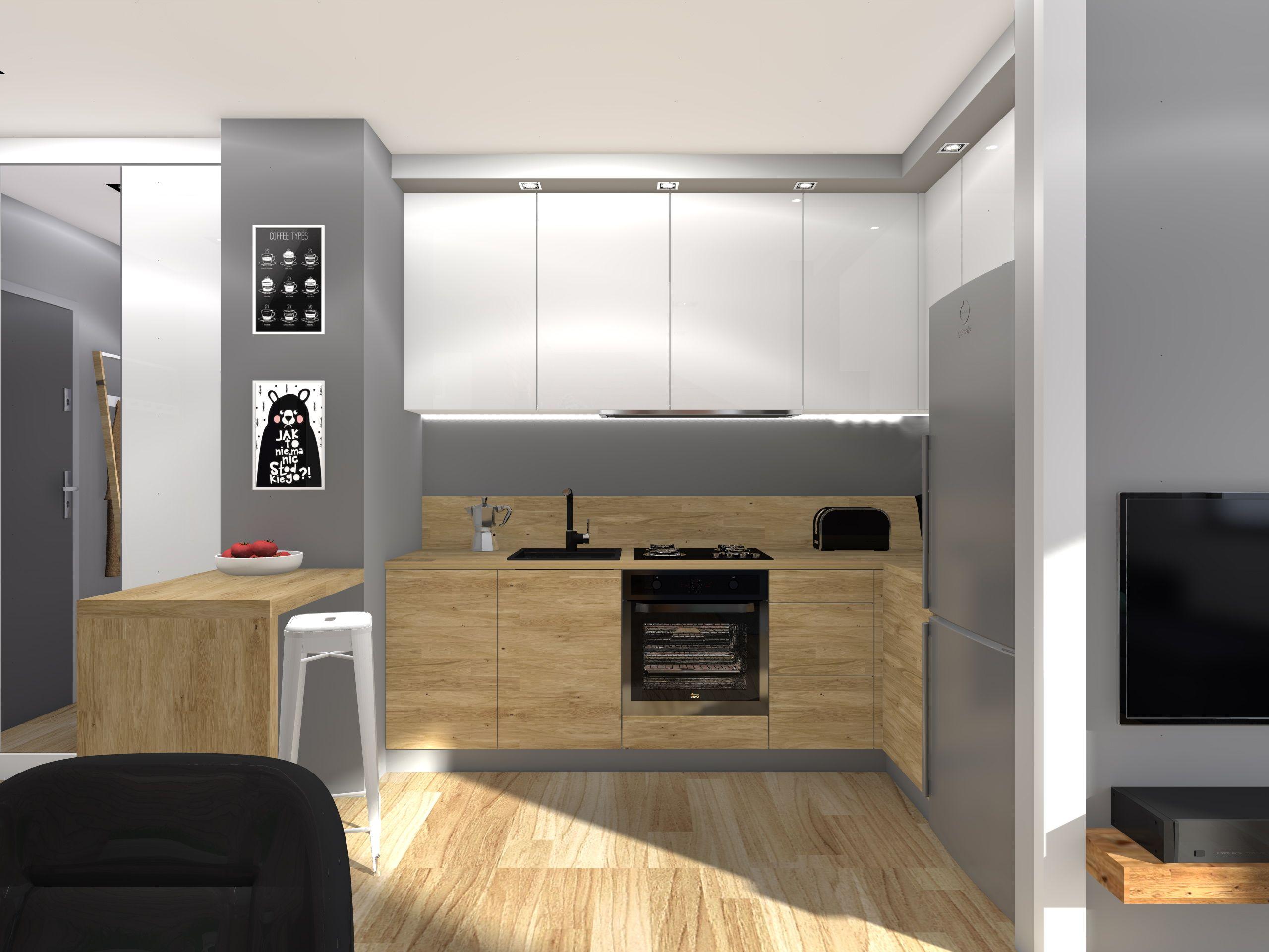 Projekt Aneksu Kuchennego W Malym Mieszkaniu Kawalerce Drewniana Zabudowa Kuchenna Wizualizacje I Aranzacje Na Stronie Small