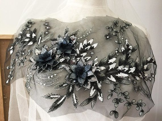 Silver gold d beaded flower lace applique sequin embroidered