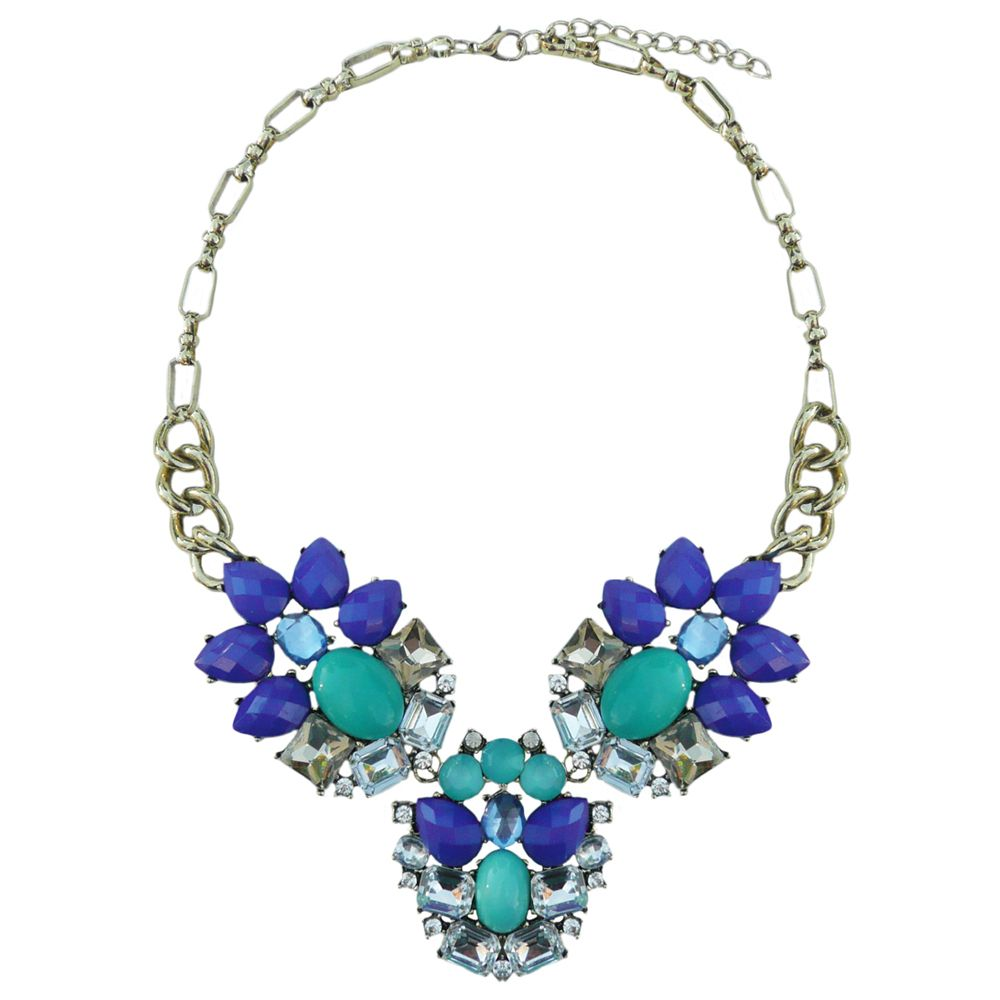 Lola Cobalt & Teal Jewel Necklace | Adorning Ava