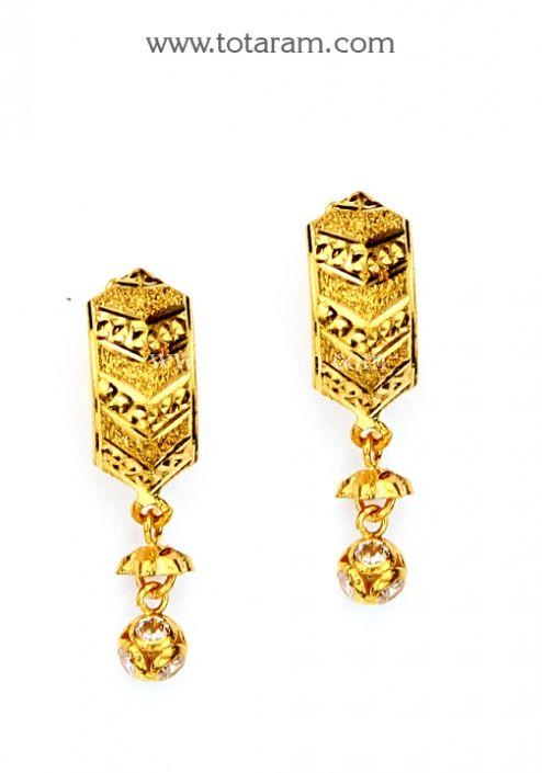 Gold Hoop Earrings Ear Bali in 22K Gold with Cz GER6564 Buy