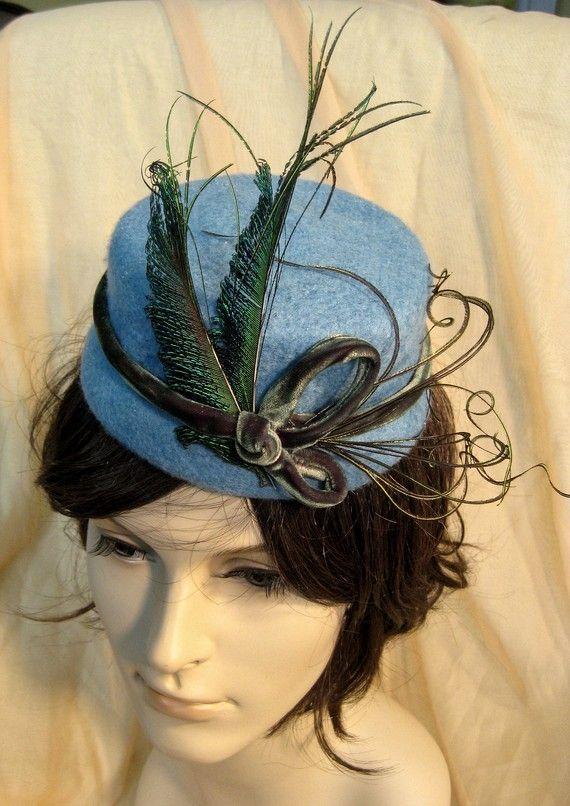 298cc4b89de Shades of peacock cocktail hat with antique silk velvet trim