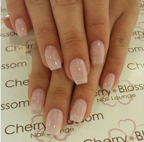 Short Coffin Nails with American Manicure | Nude Nails in ...