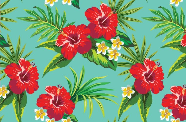 Hibiscus Wallpaper Turquoise Flower Design Muralswallpaper Turquoise Flowers Print Wallpaper Tropical Flowers Pattern