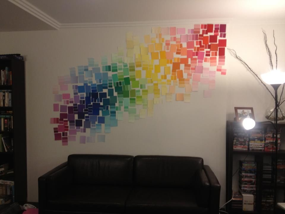 My new feature wall made from hundreds of paint colour samples ...