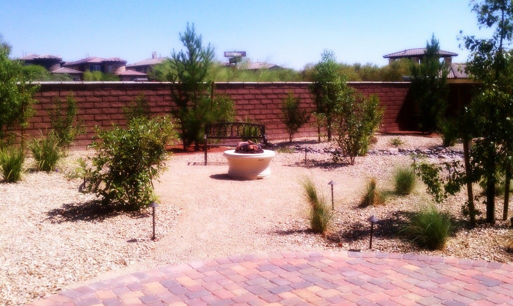 desert landscape with paver patio