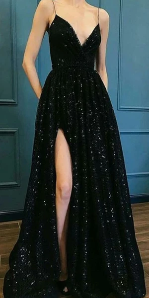 Vneck Black Sequin Long Prom Dresses ,Cheap Prom Dresses,PDY0441 Vneck Black Sequin Long Prom Dresses ,Cheap Prom Dresses,PDY0441 - Prom party dresses, Prom dresses long, Prom dresses, Fancy dresses, Occasion dresses, Lace prom dress - Vneck Black Sequin Long Prom Dresses ,Cheap Prom Dresses,PDY0441 The long promdresses are fully lined, 4 bones in the bodice, chest pad in the bust, lace up back or zipper back are all available, total 126 colors are available This dress could be custom made, there are no extra cost to do custom size and color Descr