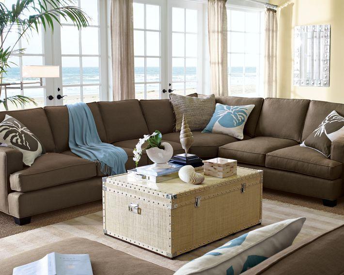 Brown Sofa With Light Blue Accents Coastal Room Coastal Living Rooms Modern Interior Decor