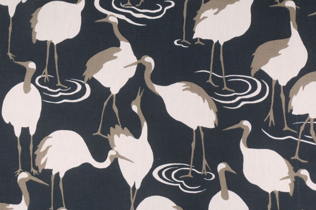 8 7 Yards Robert Allen Winter Crane Printed Cotton Drapery Fabric