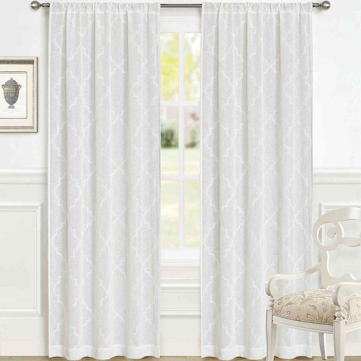 Laura Ashley Windsor Rod Pocket 2 Pack Sheer Curtain Panels