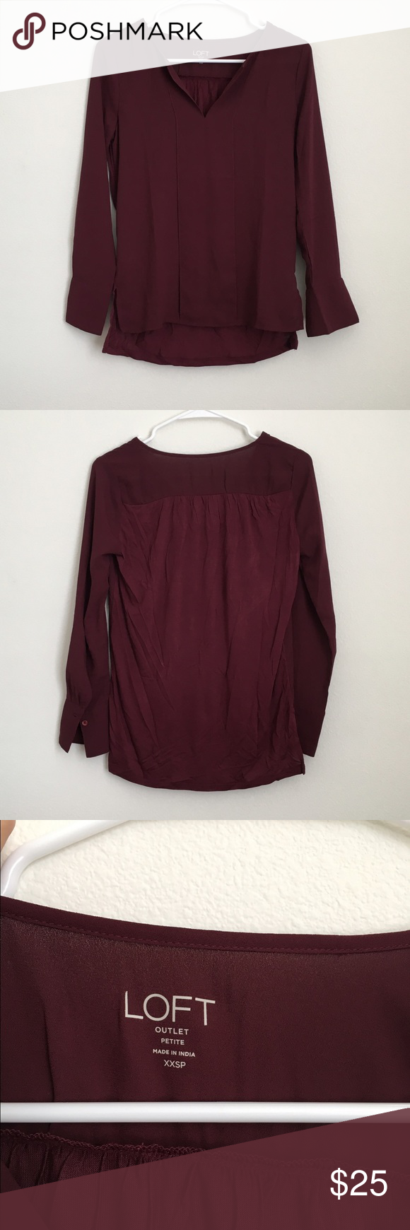 Maroon V-neck Shirt Maroon Bence shirt from Loft LOFT Tops Blouses