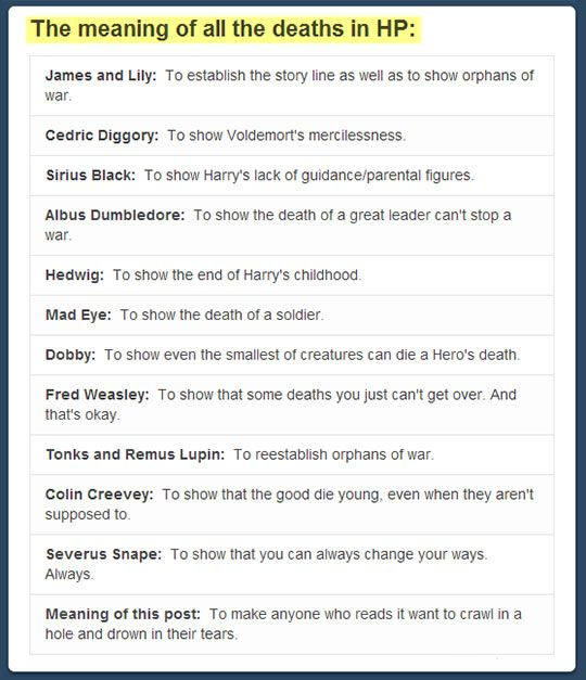 Death theme in Harry Potter essay?