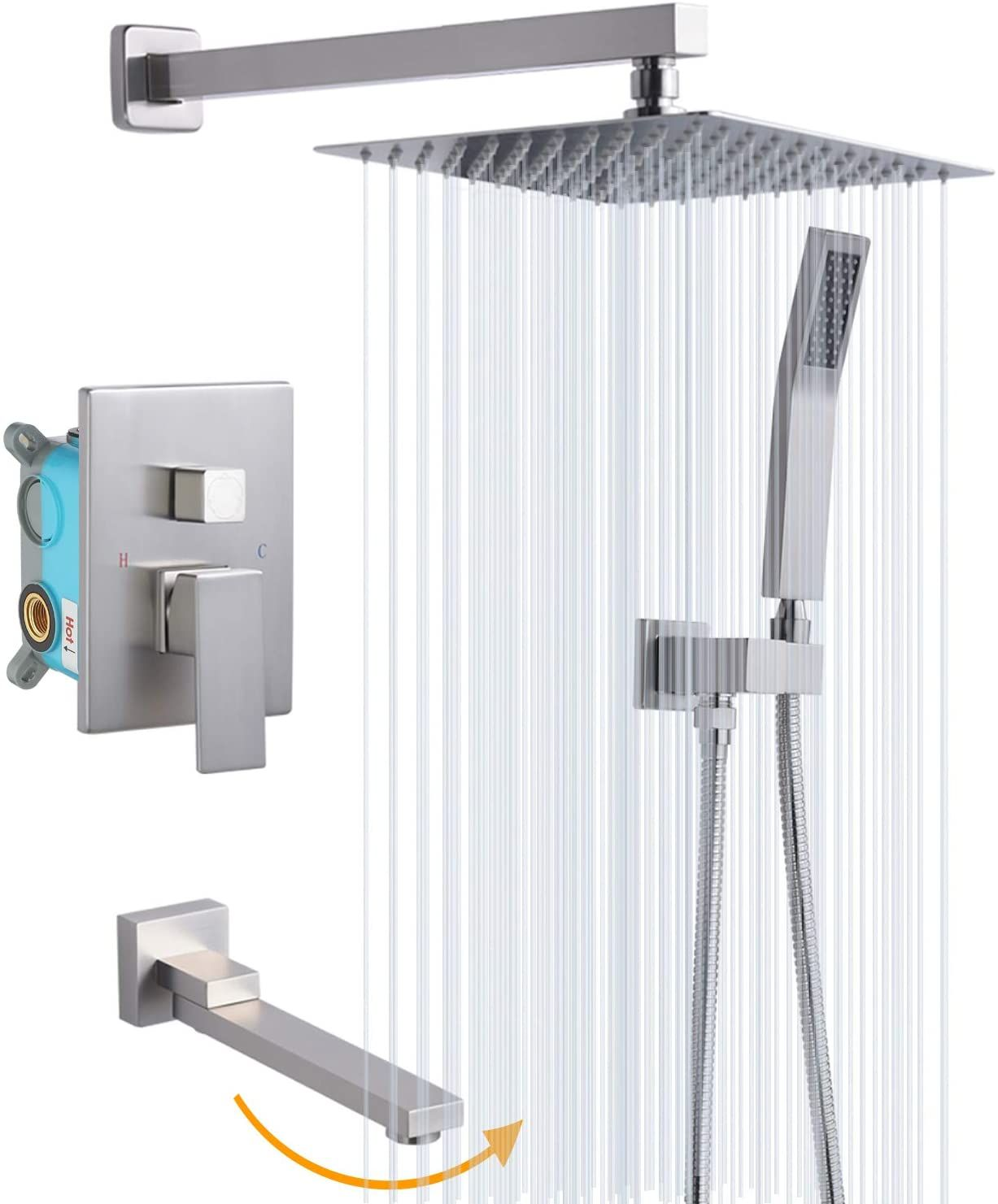 Rugus Shower System Luxury Rain Mixer Shower Tub Spout Combo Set Wall Mounted Rainfall S Amazon Affiliate L Shower Systems Rainfall Shower Head Shower Faucet