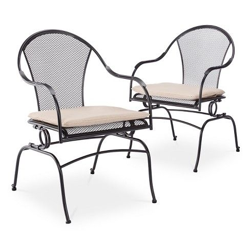 6650df267754 Dress up your outdoor space in chic comfort with the Hamlake 2-Piece  Wrought Iron Patio Motion Dining Chair Set from Shin Crest.