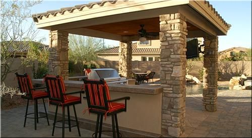 Prefab BBQ Island with fire pit and woodburning pizza oven