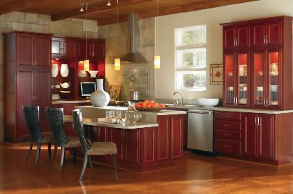 Gibson Cherry Cranberry kitchen by Thomasville Cabinetry.
