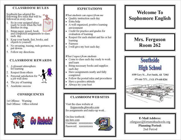 Oretha Ferguson Trifold Page 1 Recursos Pinterest Classroom - clroom management plan template
