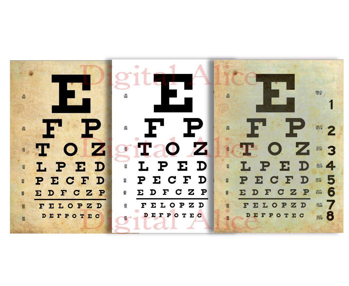 Vintage eye exam chart instant printable download 3 finishes vintage eye exam chart instant printable download 3 finishes 85 x 11 in nvjuhfo Choice Image