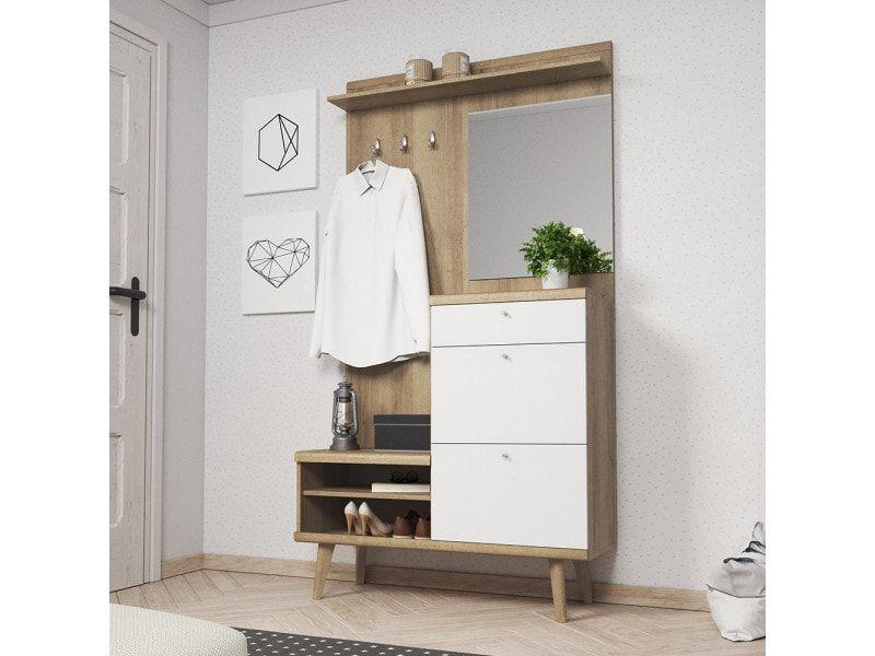 Meuble D Entree Pristeg 110 Cm Blanc Mat Chene Riviera Miroir Vente De Vestiaire Conforama Meuble Entree Meuble Chambre Meuble Couloir