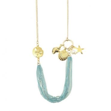 Seabreeze Necklace in Gold/Teal