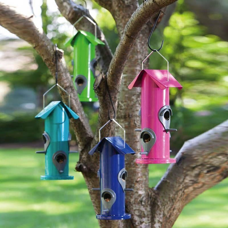 Details about blooms tube bird feeder blue with roof and